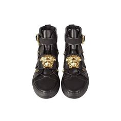 Versace High-Top Leather Sneaker ($1,113) ❤ liked on Polyvore featuring shoes, sneakers, versace sneakers, hi tops, leather sneakers, versace high tops and pointed-toe sneakers