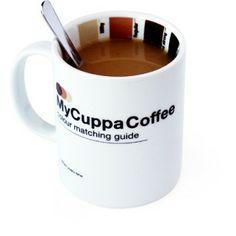 """Taza de café con guía de colores """"My cuppa"""", para saber cuanta leche echar al café."""