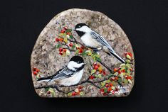 Hand+Painted+Double+Chickadee.+by+PrecambrianTreasures+on+Etsy,+$140.00