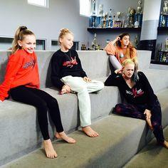 Jenna, Brynn, Addy and Kalani pretending to be Dance Moms