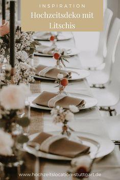 Hochzeitsdekoration mit Litschis Table Decorations, Furniture, Home Decor, Registry Office Wedding, Decoration Home, Room Decor, Home Furnishings, Home Interior Design, Dinner Table Decorations