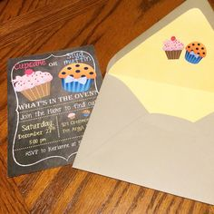 Gender reveal invites Cupcake or studmuffin by AshsPartyAccents