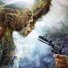 This is so beautiful. My interpretation of this art is it shows how are civilization is destroying the beauty of the earth. No one hardly ever respects Mother Nature anymore and it is sad. Everyone worries about building or creating the next best thing, but we already have it. We have life. We have a gorgeous planet that we need to love and admire instead of slowly destroying it. It's a deep picture, if you look at it the right way...Mother Nature is crying because of what we have become…