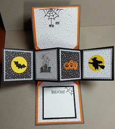 Carol B Crafts: Stampin'Up! Spooky Fun Twist Pop Up Panel Halloween Card Halloween Pop Up Cards, Up Halloween, Halloween Themes, Fun Fold Cards, Folded Cards, Pop Up Box Cards, Fall Cards, Holiday Cards, Christmas Cards