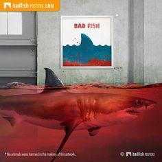 Jaws aka Bad Fish Poster | Beach closed... Fish, Beach, Prints, Poster, Blog, Painting, Art, The Beach, Painting Art