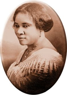 """After the civil war, many African Americans began to straighten their hair. Madame C.J. Walker inventeBut wd a system for straightening hair without the damage caused by other methods. She became the first black millionaire, and donated thousands of dollars to the NAACP and similar groups. """"Little girls received their first simple pigtails or cornrows at Mother's or Grandmother's knee. Brushing, oiling, and braiding the hair encouraged it to grow"""