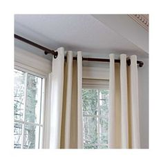 Curtain ideas for by bay window.