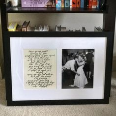 """Mix of #tbt and current day. Thank you @hudsonka88 and @framebridge for helping me give what @qpapadiddypop called """"the best present I've ever given him."""" That along with @ofmonstersandmen concert tickets of course! #anniversarygift #paperanniversary #paperthemed #framebridge #weddinganniversary #loveyoulikewhoa #qweda2014 #1yearin #firstdancesong #paperweight"""