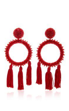 Large Beaded Circle with Tassel C Earring by Oscar de la Renta | Moda Operandi