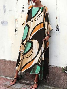 38181d2c84183 Baggy And Fashionable Print Maxi Dress