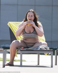 Love her appetite! Chanelle Hayes, 28, certainly looked to be enjoying her burger: