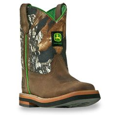 John Deere Baby/Toddler Gaucho Leather Foot  Boot with Mossy Oak Camo Shaft- I know one little boy who might end up with these in his stocking this year!