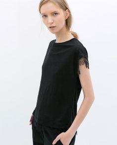 Lace Linen T- Shirt by ZARA