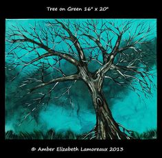 Tree on Green Original Painting 16 x 20 Acrylic on Gallery Canvas Surreal Art Amber Elizabeth Lamoreaux Tree of Life Modern Art