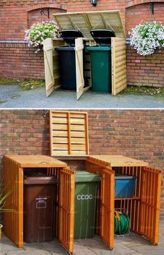 garden shed Best DIY Garden and Yard Sheds Expand Your Storage Shed Conversion Ideas, Bin Shed, Garbage Can Storage, Garbage Can Shed, Garden Shed Diy, Home And Garden, Bin Store, Yard Sheds, Wooden Pallet Projects