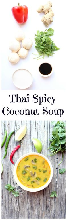 Thai Spicy Coconut Soup, fresh, lightened up, with a perfect balance of flavors #thai #soup Recipe Here : http://fitgirlshabits.com/thai-spicy-coconut-soup/#more-300