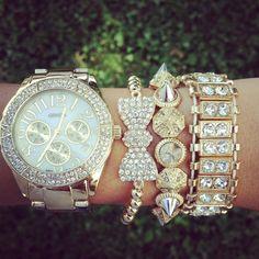 gold and bling arm candy Bow Bracelet, Bracelets, Bracelet Watch, Candy Bracelet, Mickeal Kors, Jewelry Accessories, Fashion Accessories, Handbags Michael Kors, Mk Handbags