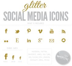 Pretty Gold Glitter Web and Social Media Icons #graphics #graphicdesign