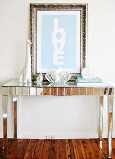 mirrored table ..