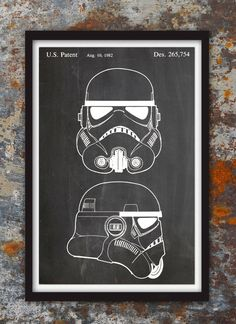 Stormtrooper Helmet Patent Wall Print, Patent Art, Stormtrooper Poster, Star Wars Blueprint, Stormtrooper Patent Print, Plexity Prints #113