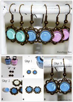 3 Step Nail Polish Earrings! using nail polish, earring hooks and single sided small pendants. No glue required. Craft Idea, DIY, Handmade