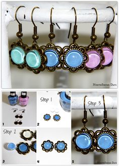 3 Step Nail Polish Earrings! using nail polish, earring hooks and single sided small pendants. No glue required. Craft Idea, DIY, Handmade