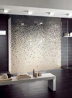 carrelage-mosaique-bains-noir-blanc-miroir carrelage mosaïque
