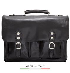 Alberto Bellucci Milano [Custom Initials Engraving] Parma Flapover Double Compartment 15.6' Laptop Messenger Briefcase *** Check this awesome product by going to the link at the image.
