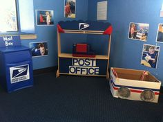 """February Movement Activity: Post office dramatic play: they could write and """"mail"""" Valentines Day Letters for February. Dramatic Play Themes, Dramatic Play Area, Dramatic Play Centers, Preschool Dramatic Play, Dramatic Arts, Preschool Centers, Preschool Classroom, Preschool Activities, Classroom Ideas"""