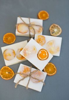 Easy Handmade Goat's Milk Citrus Soaps. Perfect wedding favor. Find dried orange slices here: http://www.save-on-crafts.com/orangeslices.html