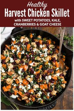 An easy healthy chicken dinner with sweet potatoes kale cranberries and goat cheese. Ready in 30 minutes and filled with the best flavors of the season! Serve with wild rice cauliflower rice or enjoy it on its own for a fast and healthy chicken dinner! Sweet Potato Dinner, Sweet Potato Kale, Sweet Potato Recipes, Chicken Recipes, Chicken And Sweet Potato Recipe Healthy, Chicken Flavors, Clean Eating Snacks, Healthy Eating, Healthy Chicken Dinner
