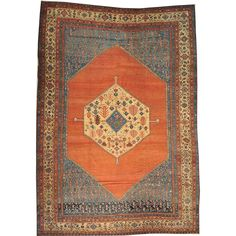 1800getarug Refurbished Hand-knotted Antique Persian Bakshaish Open Field Area Rug
