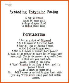 Resultado de imagen de harry potter potions recipes