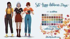 [satterlly] T-shirt_lazy_autumn_days; [satterlly] T-shirt_lazy_autumn_days_maxis; [satterlly] T-shirt_lazy_autumn_days_patterns Sims 4 Game Mods, Sims Games, Sims 4 Mods Clothes, Sims 4 Clothing, Sims Love, Sims 4 Children, Children Clothing, Maxis, The Sims 4 Packs
