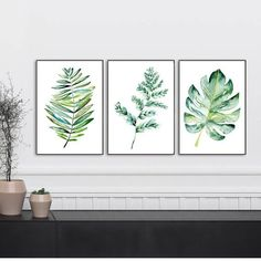 Botanical print sets of leaf art, Watercolor kitchen art, set of prints, Monserrat, Fern leaf digital poster set, art prints, spring decor