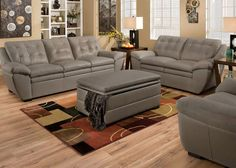 Utopian Design. Our Jack gray collection delivers utopian contemporary design upholstered in 100% NU Leather everywhere your body touches. Nu Leather gives you the look and soft feel of genuine leather at a fraction of the price. The modern style is enhanced by the tufted back cushions and the clean lines. Exceptional comfort provided by the Simmons upholstery and the plush pillow top seats and arms. Simple lines, functional features and quality craftsmanship come together in this utopian…