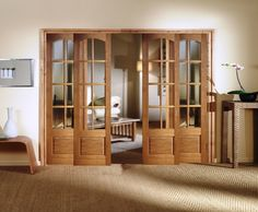 Oak 4 Light Clear Glass Folding Internal Door