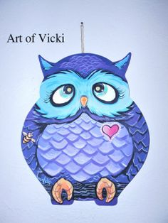 Whimsical Owl Wall Hanging by ArtofVicki