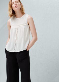 Blusa painel renda | MANGO
