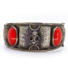 Vintage Art Deco Czech Red Lucite Ornate Silver Metal Bracelet | Clarice Jewellery | Vintage Costume Jewellery