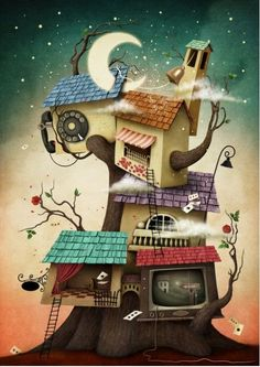 Illustration about Conceptual illustration with colorful houses on the tree. Illustration of city, home, branches - 67172970 Mark Ryden, Abstract Canvas Art, Canvas Art Prints, Kids Room Wall Art, Wall Art Decor, Wooden Puzzles, Jigsaw Puzzles, Wooden Hut, Thing 1