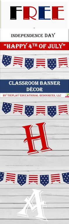 """FREE It's big time events with a banner that states """" Happy 4th of July"""". This banner has celebration colors of red, white and blue with a realistic wood whitewash background. What a great way to celebrate.This product includes one banner and directions for print-out. Thank you, teachers, and Happy 4th of July.I appreciate your feedback. Classroom Banner, Classroom Decor, Elementary Teacher, Upper Elementary, Teaching Materials, Teaching Resources, Fall Cleaning, Art Curriculum, Happy 4 Of July"""