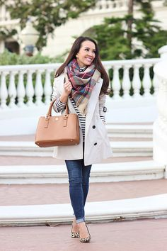 Burberry Monttram Trench Coat and Plaid Blanket Scarf-5   Flickr - Photo Sharing!