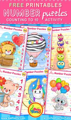 FREE Number Puzzles - Preschool Printables for Kids - Learning Numbers, Counting - Fun Math Activities and Worksheets for Homeschooling by BonTon TV - Besplatne Puzzle za zabavno učenje brojeva od 1 do 10 - Matematika, Brojanje do 10 Preschool Puzzles, Numbers Preschool, Maths Puzzles, Free Preschool, Learning Numbers, Preschool Printables, Kids Learning Activities, Puzzles For Kids, Preschool Worksheets