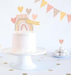 Birthday Cake Crown, Baby Birthday Cakes, Rainbow Birthday Party, Baby Girl First Birthday, Birthday Parties, First Birthday Party Decorations, Paper Cake, Girl Cakes, Cake Smash