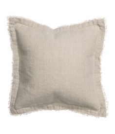 Cushion cover in washed linen fabric with raw edges. Concealed zip. Size 16 x 16 in. Color: Beige; 2 for Bedroom