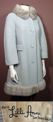 1960s Vintage Lilli Ann Coat in Ice Blue with Silver Mink SZ S