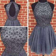 Gray Jewel Neck Tulle Homecoming Dresses, New Style