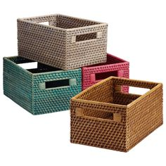 "Small Rattan Bin  Turquoise/Pink/Steel/Copper 11"" x 7-1/4"" x 5-1/2"" h $19.99"