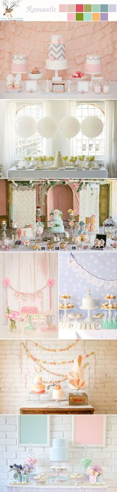 romantic pastel peach yellow purple green blue wedding dessert table ideas
